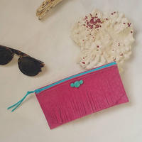 Pink leather pouch.