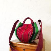 320|ミャンマー・パラウン族の手織り布ボニーバッグ(赤)(size/M)