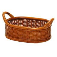 型番061(061)籐かご 小判型テーブルトレイ  収納バスケット  小物入れ 【かごのお店ラッセルSTORES】