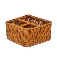 型番051(051) 籐かご 収納バスケット 仕切り付き整理カゴ 小物入れ 【かごのお店ラッセル STORES】