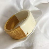 vintage  wood clear bangle whit lucite