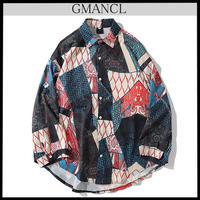 【GMANCL】和柄風パッチワーク長袖シャツ