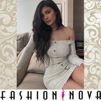 即納★再入荷【Fashion Nova】フロントボタンオフショルダーボディコンミニワンピース