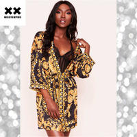 UK発 MISSYENPIRE スカーフプリント 着物 ドレス ワンピース