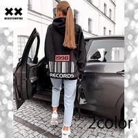 【MISSY EMPIRE】2color レコードスローガンオーバーサイズフーディー