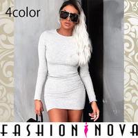【Fashion Nova】4color リブボディコン長袖ミニワンピース
