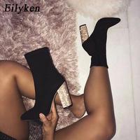 【Eilyken】グリッターヒールデザインスムースアンクルブーツ