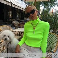 【RUVELA SELECT】2color ネオンカラーハイネックリブトップ