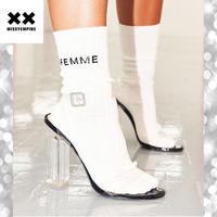 大人気 ♪ MISSYENPIRE ファム ロゴプリント スローガン ソックス 靴下