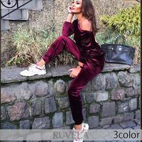 【RUVELA SELECT】3color バックレスベルベットオフショルダージャンプスーツ