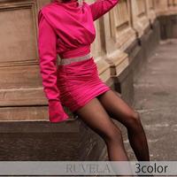 【RUVELA SELECT】3color サテンハイネックシャーリングミニドレス