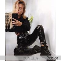 【RUVELA SELECT】2color フェイクレザーエナメルロングスキニーパンツ