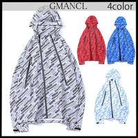 【GMANCL】4color 総柄プリントフード付きジャケット