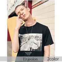 【Enjeolon】2color メンズグラフィックプリント半袖Tシャツ