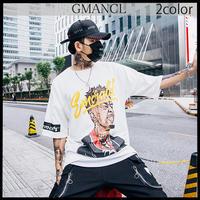 【GMANCL】2color フェイスアートプリント半袖Tシャツ