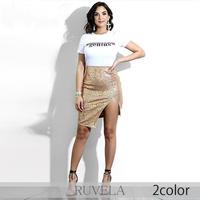 【RUVELA SELECT】2color スパンコールアシンメトリーボディコンミニスカート