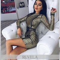 【RUVELA SELECT】キラキラスパンコールデザインベルト付きミニドレス