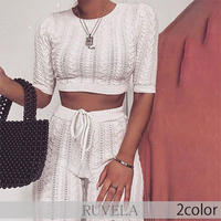 【RUVELA SELECT】2color ケーブルニット5分袖ツーピースセット