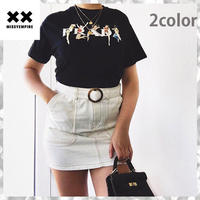 大人気 ♪ MISSYENPIRE ガールズグラフィック スローガン 半袖Tシャツ プラダロゴ