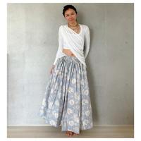 オーガニックコットン&プリント青と白のマンジャリースカート