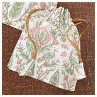 オーガニックコットン&プリント孔雀とお花の巾着大