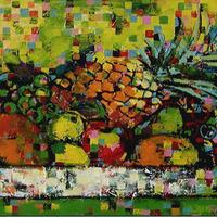 usF6-061103 静物(果物とパイナップル)