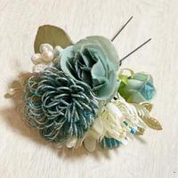 【髪飾り】ゆかた姿が引き立つヘアアクセサリー (ブルー)