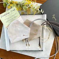 第4弾 【Ryona Original Neckstrap mask 】_Cotton cord x Pearl_ Turkish cloths WHT / Beige