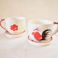 【New Journey Selections】鶏とお花のカップ&ソーサー