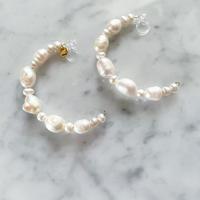 【LIBERTY】_Candy pearls: Half hoop_L ピアス210307 / イヤリング210410
