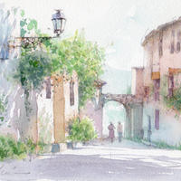 永く歩いた道(ル・カストレ プロヴァンス地方)水彩画