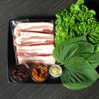 【お家で龍園】サムギョプサルセット200g+包み野菜 [冷蔵のみ]