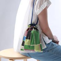 ドローストリングバッグ(巾着袋)/緑のブロック