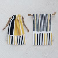 スモールドローストリングバッグ(巾着袋)/黄藍色
