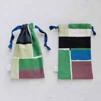 スモールドローストリングバッグ(巾着袋)/Green Block