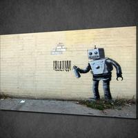 """バンクシー *バーコードを落書きするロボット 60×90㎝ (24"""" x 36"""")  *キャンバスアート*BANKSY"""