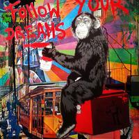 """キャンバスアート*「夢を追いかけろ!」猿より 、、 30x30cm (12"""" x 12"""") *Follow Your Dreams"""