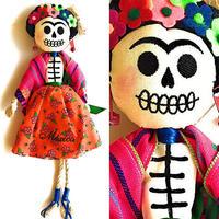 フリーダカーロ*メキシコの手作り - カトリーナ人形*オレンジ×紫