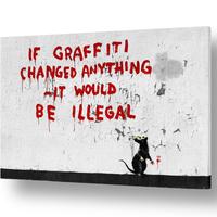 """バンクシー *もし落書きが何かを変えるのなら、、40×60㎝ (16"""" x 24"""") *キャンバスアート*BANKSY"""