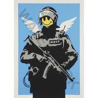 """バンクシー *ハッピーエンジェル警官*61 x 86 cm (24"""" x 34"""")*キャンバスアート(フレーム無し)*BANKSY"""