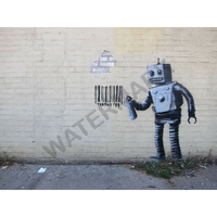 """バンクシー *ロボットとバーコード*82 x 61 cm (32"""" x 24"""")*キャンバスアート(フレーム無し)*BANKSY"""
