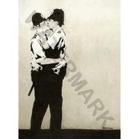 """バンクシー *キスコッパーズ/Kissing Coppers*61 x 83 cm (24"""" x 33"""")*キャンバスアート(フレーム無し)*BANKSY"""