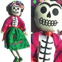 フリーダカーロ*メキシコの手作り - カトリーナ人形*グリーン×ピンク
