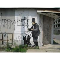 """バンクシー *ホームレスリンカーン/Homeless Lincoln*82 x 61 cm (32"""" x 24"""")*キャンバス(フレーム無し)*BANKSY"""