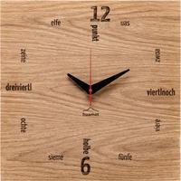 HUAMET◆CH51-A-01◆本物のオーク材スクエア・木目の壁掛け時計◆南チロル