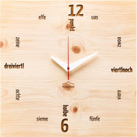 HUAMET◆CH41-C-01◆本物の松材スクエア・木目の壁掛け時計◆南チロル