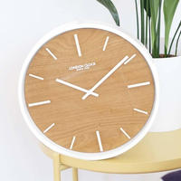 ロンドンクロック◆LONDON CLOCK 1114◆木製ベニヤの文字盤、掛け時計◆クォーツムーブメント