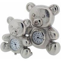 ギフトタイムプロダクト◆GIFT TIME PRODUCTS 058852◆クマと子クマの置き時計(シルバー)◆BEAR AND BABY BEAR