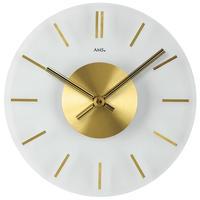 アームス ◆AMS 9319◆シンプルガラス 掛け時計(ゴールド)◆ドイツ製クォーツムーブメント