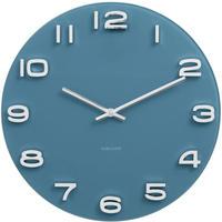 カールソン◆KARLSSON  KA5640BL◆ガラス 掛け時計(青)◆Vintage Round Glass Clock